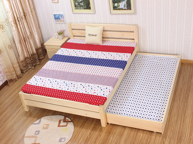 Changsha direct selling simple environmental protection solid wood pine furniture custom bedroom, baby, child, adult storage single double bed