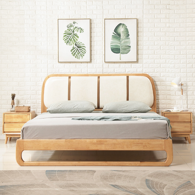Nordic wood bed 1.8 meters 1.5 meters double wedding bed Japanese soft on modern minimalist soft bed Zhuwo large-sized apartment