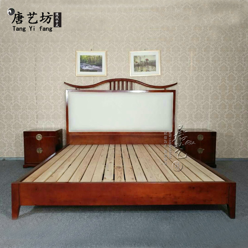 The new Chinese modern minimalist Zen master all wood 1.8 meters 2 meters double bed hotel room custom