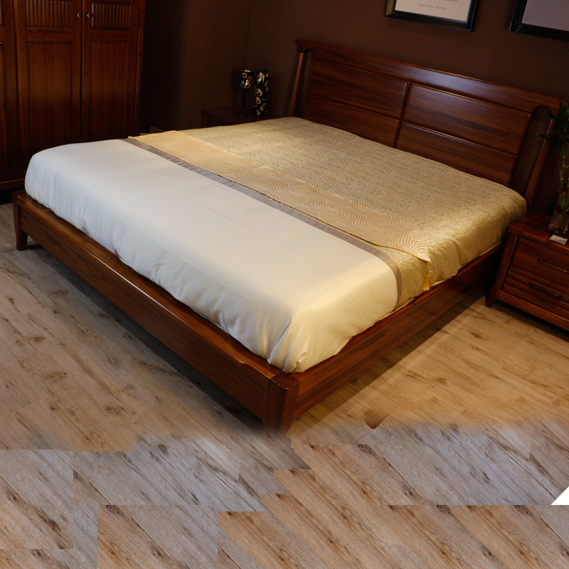 Solid wood bed 1.8 meters 1.5 American style minimalist modern oak adult economic double bed single master bedroom furniture