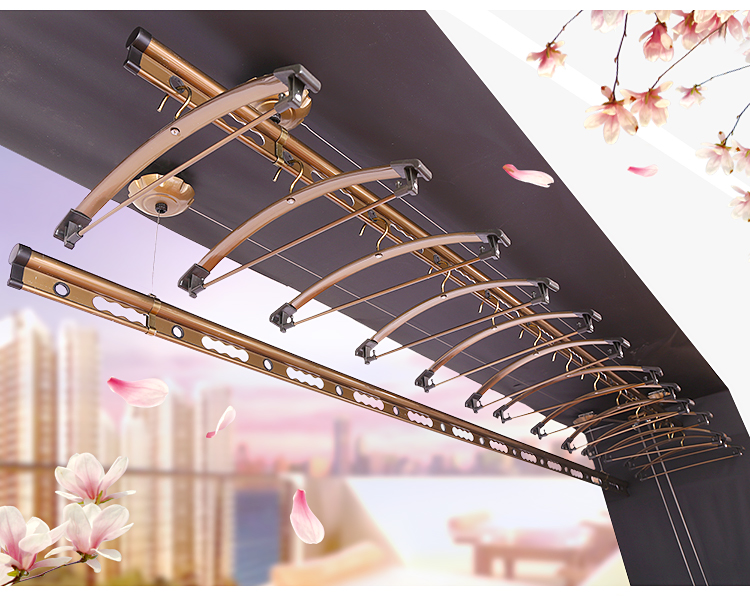 Balcony airing hanger, lifting hand, hand, hand, single rod, automatic double bar type thickening stainless steel indoor manual Cloak