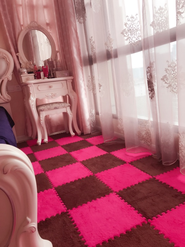 The indoor carpet mats covered with tatami style bedroom mosaic coral suede household hand washable fluff bed