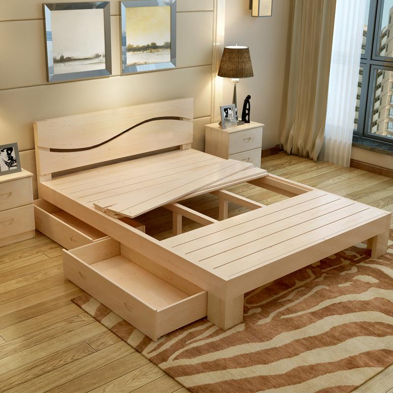 Wood 1.8 meters double simple modern 1.5m 1.2 simple single bedroom Zhuwo adult economy type pine