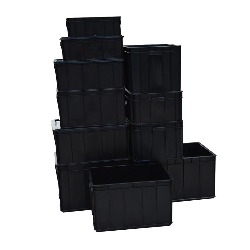 elektroniska komponenter och material som plast lådor med svarta lådor med lock av plast med rektangulära fält antistatisk
