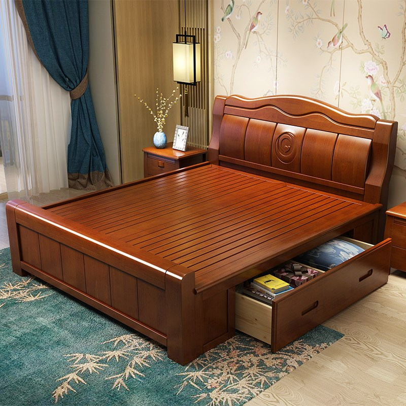 New Chinese style solid wood bed double bed, master bedroom 1.8 meters, contracted modern 1.5 high box storage bed, economic type marriage bed