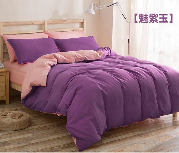 Summer cotton four piece bedding Tencel 1.8/2 simple plain sheets fitted pure linen quilt