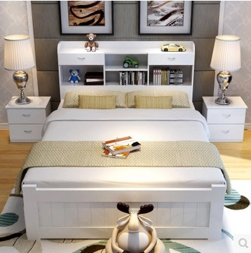 Solid wood bed, white pine bed, double bed, 1.81.21.5 meter single bed, European style bed, princess bed, bed for children