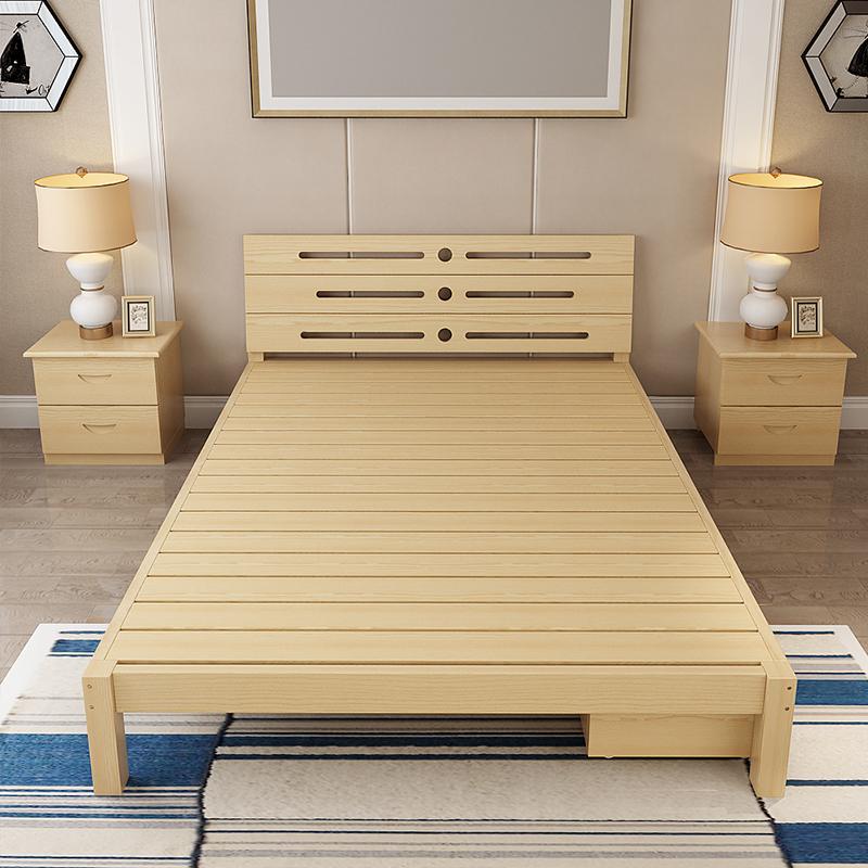 Solid wood bedstead, 1.5 double bed, 1.8 pine single bed, adult log, modern simple children bed 1.2 meters
