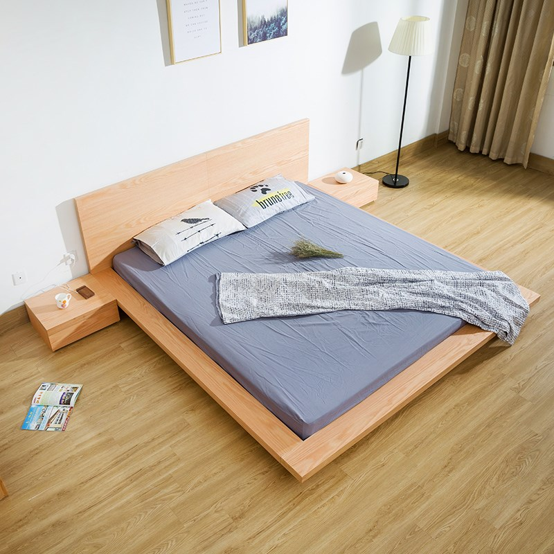Oak bed tatami bed Nordic modern bedroom 1.8 meters double bed soft back simple promotion