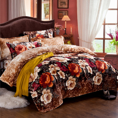 With velvet cotton four set cartoon sheets in autumn and winter of four sets of cashmere Tencel and cotton and cashmere thickened four piece