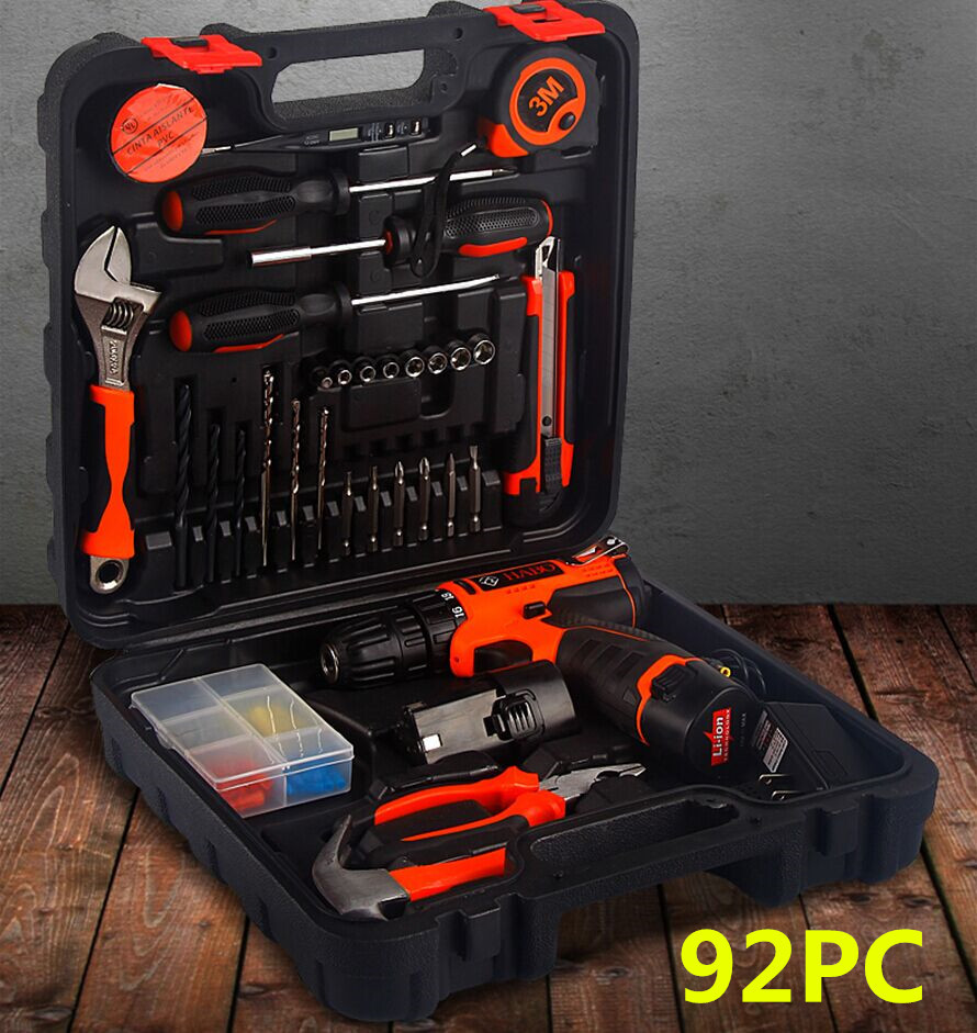 12V lithium battery rechargeable hand drill combination kit, electric screwdriver, gift hardware tool set
