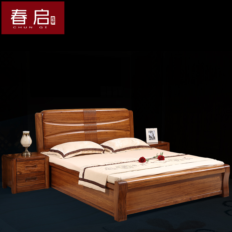 Spring and all solid wood Wujin wooden modern Chinese double zingana wood high box bed simple bedroom furniture