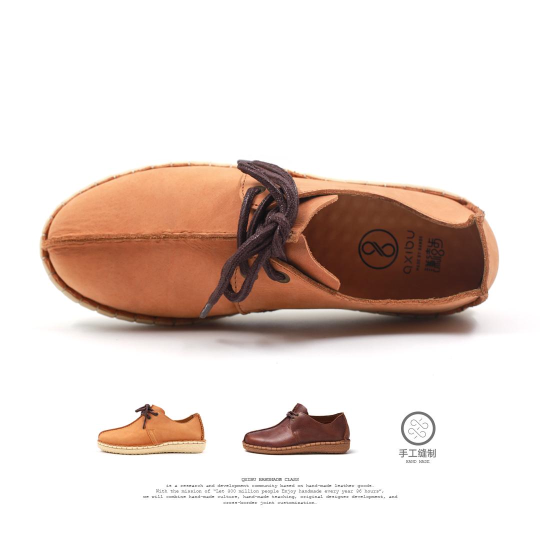 謙禧步 節 無膠手工皮鞋頭層牛皮休閑男鞋透氣防臭經典英倫沙漠鞋