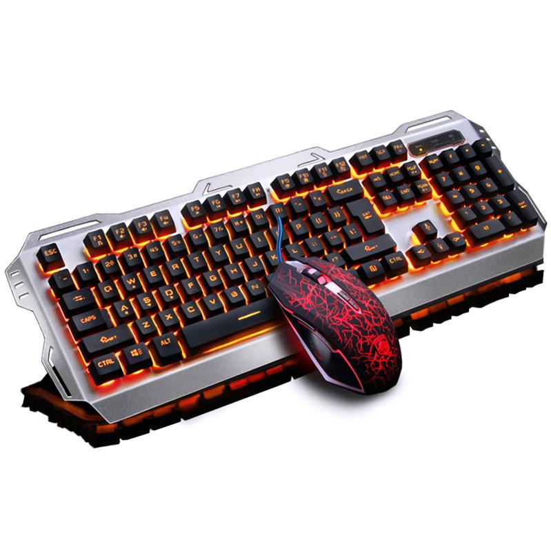 El juego de computadora portátil de cable mecánico Steampunk lol verdad manejar el teclado y el ratón.