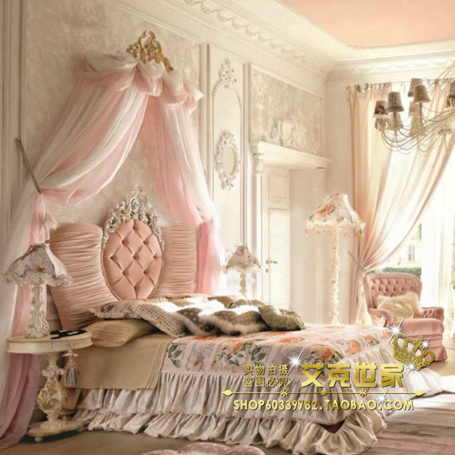 New classic wood carved bed pink princess bed double bed children soft fabric bed whole suite