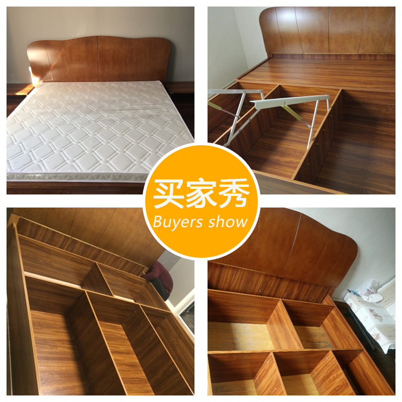 Danzhou furniture solid wood 1.8 meters modern master bedroom bed 1.5 new Chinese oak double marriage bed high box storage bed