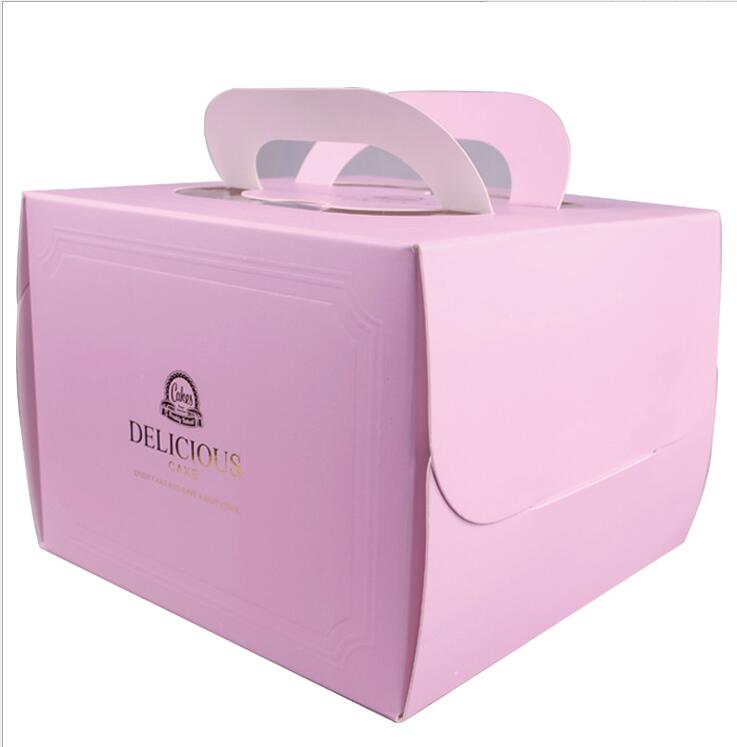 Bronzing decorative cake box portable 6 inch DELICIOUS pastry boxes to send a birthday cake box bottom