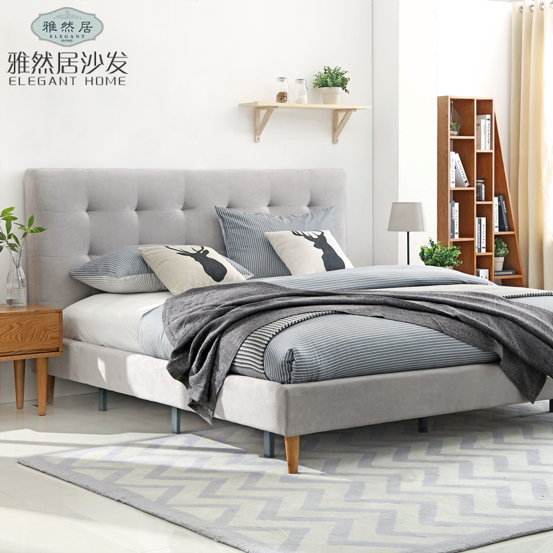 Nordic soft natural bedroom furniture double bed cloth bed 1.5m/1.8m modern minimalist style shipping