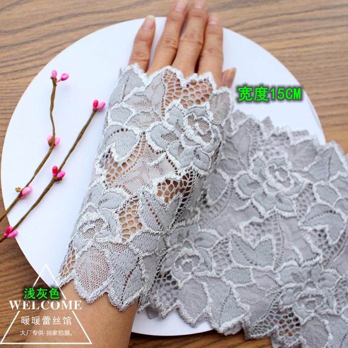 淺灰色圖騰 淺灰色加厚彈力蕾絲花邊布料 裙擺窗簾d加長花邊輔料寬15cm