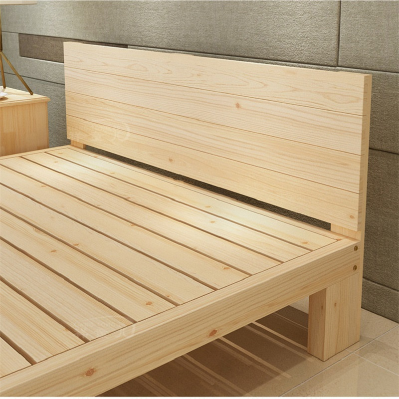 The plank bed is 1.8 meters and the single double row of raw wood frame 1.5 meters 1 bedstead