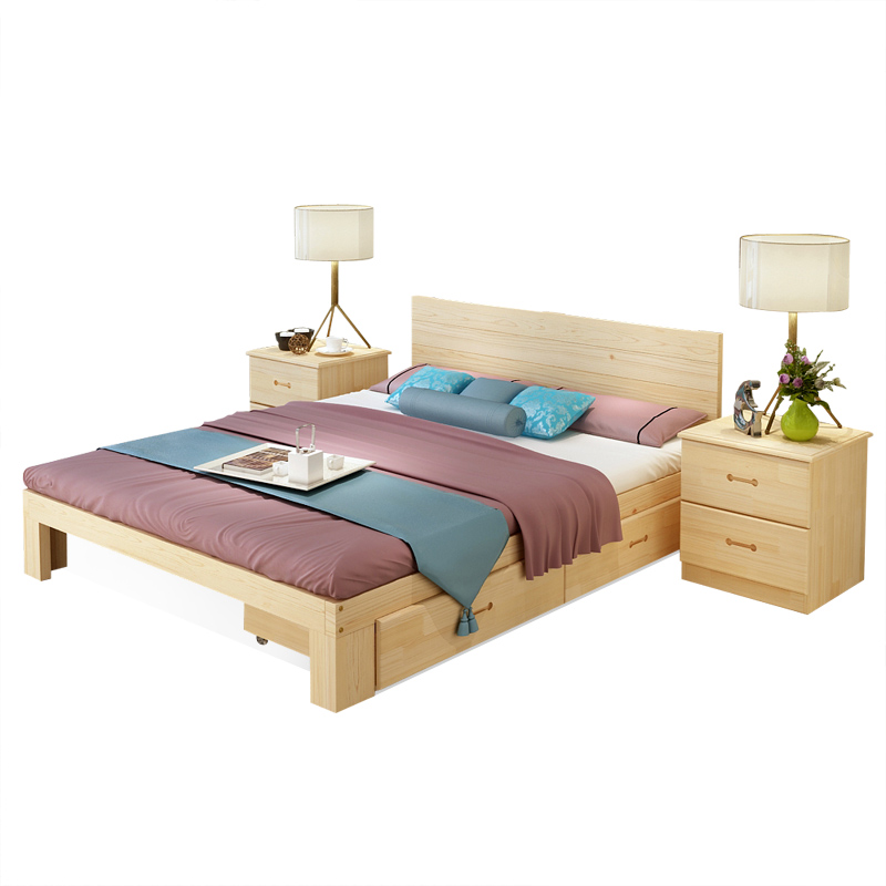 Una cama de madera maciza de madera de 1,8 metros de cartón doble fila 1 esqueleto de 1,5 metros.