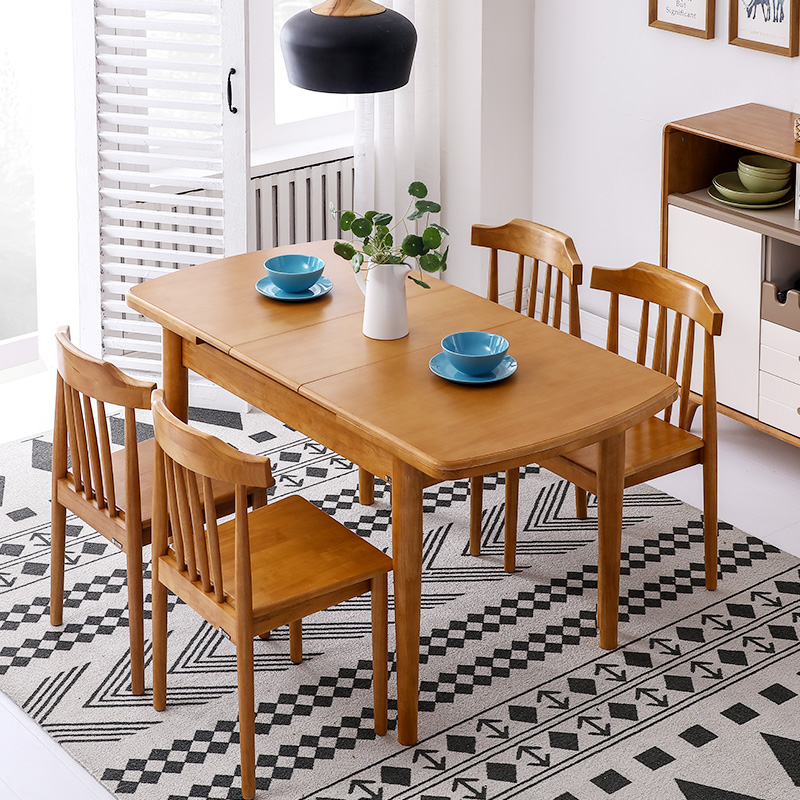 Nordic telescopic dining table, small family log, modern simple home, 4 person oval dining table chair combination home