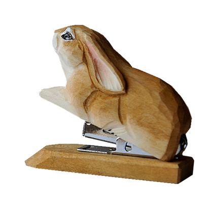 茵曼home创意手工饰品实木雕刻订书机木雕摆件椴木新年礼物