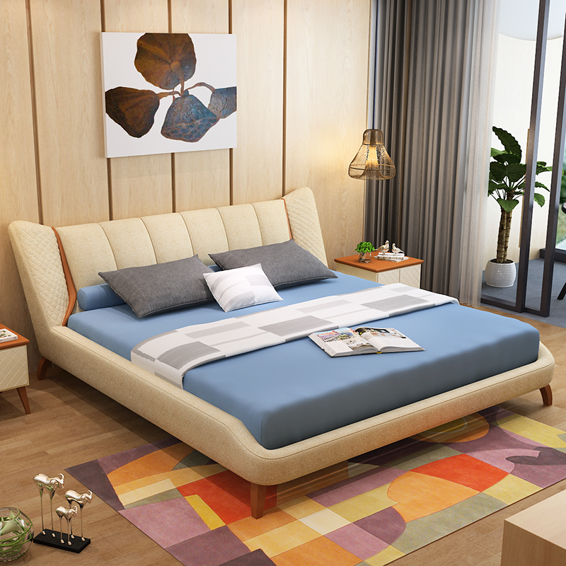 Nordic wood wedding bed washable fabric Zhuwo comfortable large-sized apartment 1.8 meters --- soft oak bed