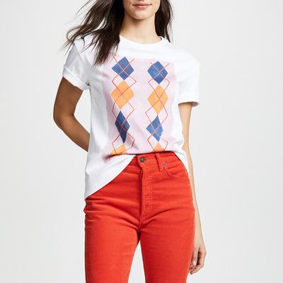 2019速卖通新款亚马逊爆款女装 圆领短袖方块印花宽松中长款T恤