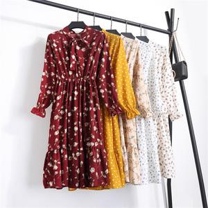 29 新韩版长袖格子系带雪纺连衣裙女中长款松紧腰百褶打底裙子