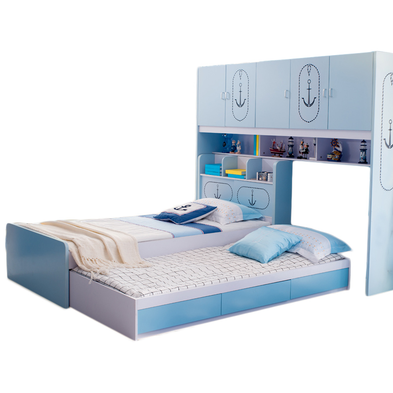 The level of children's furniture bed cluster bed double bed male girl combination bed bed with multifunctional wardrobe desk