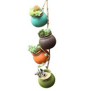 创意个性仿古悬挂式室内壁挂垂吊墙绿箩佛珠吊兰陶瓷多肉植物花盆