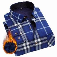 2018新品男士保暖衬衫加绒加厚款长袖修身冬季格子商务衬衣青年装