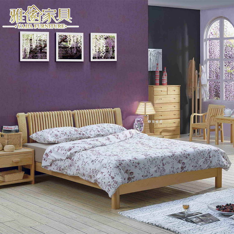 All wood 1.5 meters children single bed modern minimalist economic simple wooden 1.8m double pine furniture