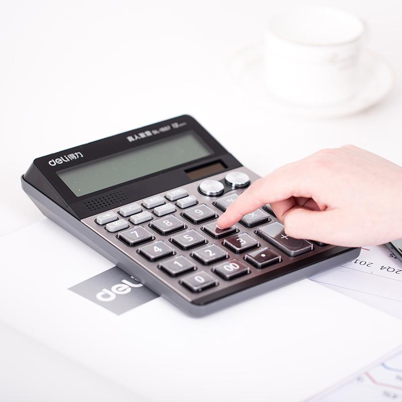 12 la gran pantalla calculadora capaz de 1557 la Oficina Comercial de doble poder de voz de computadora multifuncional de contabilidad financiera