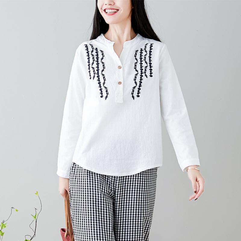 实拍8715#2019春大码女装文艺刺绣棉麻上衣T恤