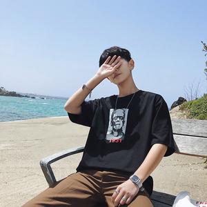 实拍3665#2018夏季新款韩版港仔男装宽松纯棉T恤短五分袖t恤控45