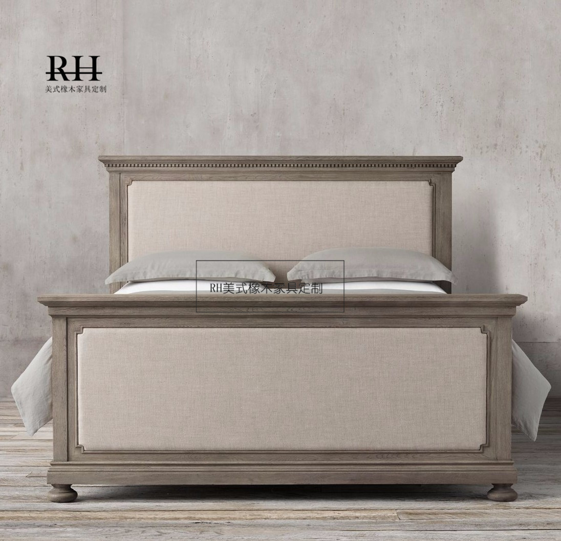 Custom American solid wood bed, simple cloth, double classical soft, rely on French Antique, old double bed 1.8 meters
