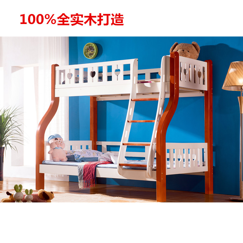 Full solid Muzi bed, Finland pine double layer, upper and lower berth, high and low bed, Mediterranean children's functional bed, color pink