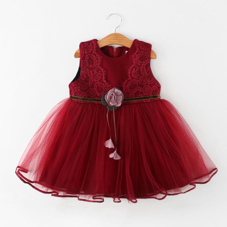 女童秋冬连衣裙儿童加绒加厚冬装蕾丝公主裙宝宝红色毛呢背心裙子