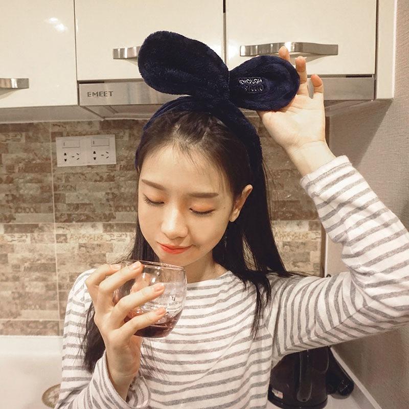 ウサギの耳リボン結び交差針金洗顔ヘアバンド可愛い甘い刺繍カチューシャ韓国女の髪飾り