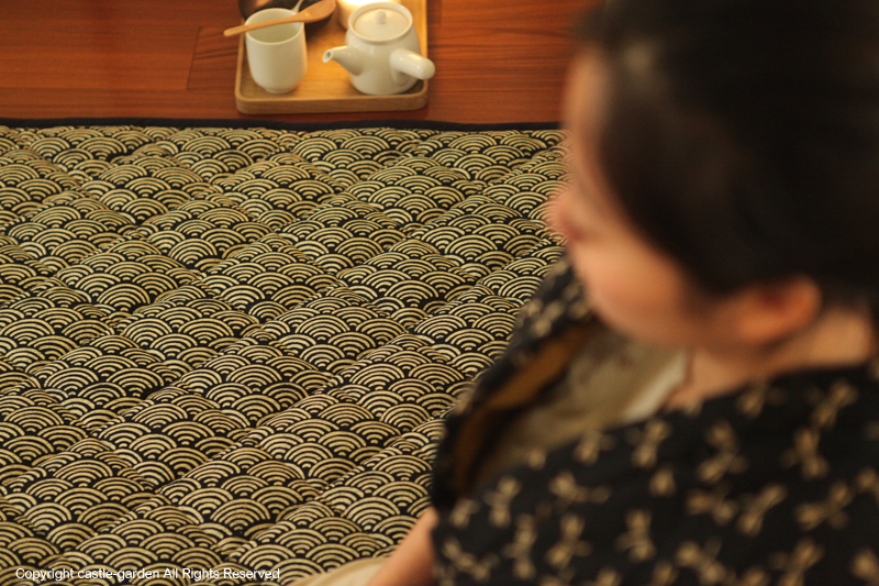 CastleGarden and lucky tatami mats, wind quilting * game pad green waves