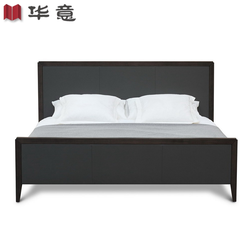 The new Chinese wood bed double room cloth bed modern minimalist bed hotel Zen custom furniture