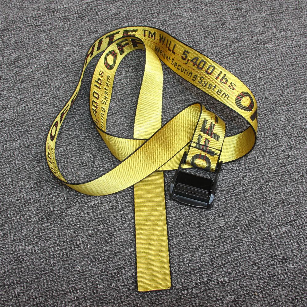 黄色のアルファベットOWベルト飾りベルト潮男女百搭カジュアルズックベルトOFFハイストリートベルト