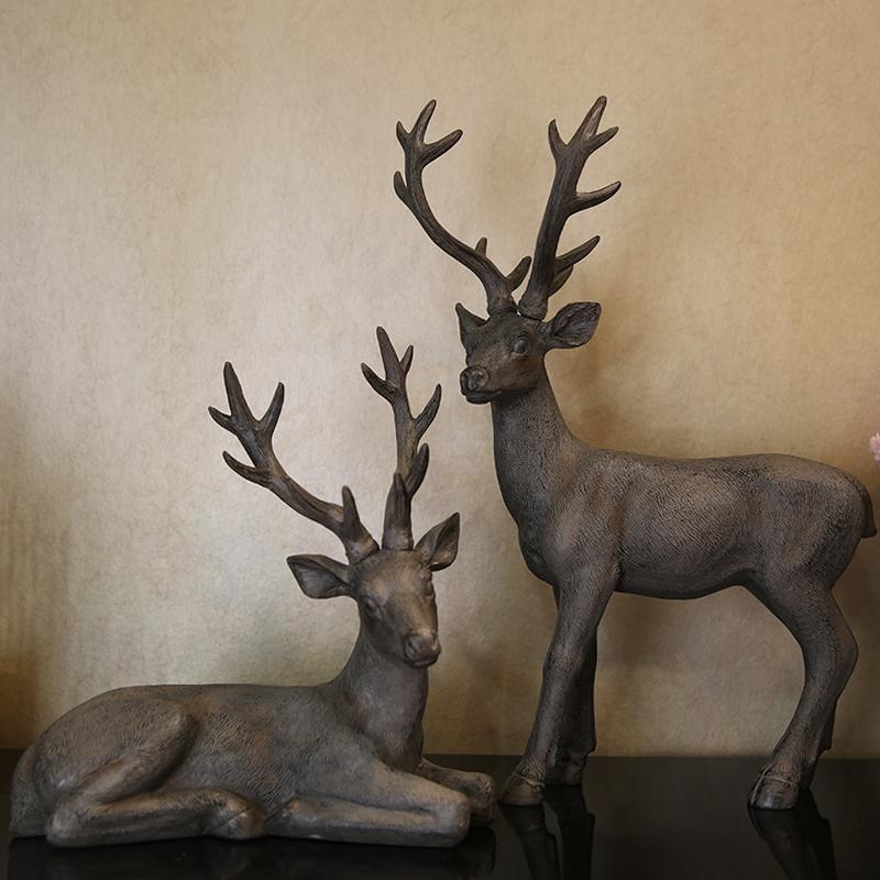 臥姿鹿夢想家 美式法式鄉村天然樹脂麋鹿擺件經典復古仿鑄鐵肌理工藝品