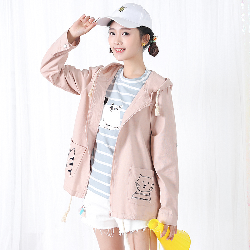 Áo khoác/Áo khoác mỏng nữ loại mỏng thêu hoa phong cách Hàn Quốc dễ kết hợp phong cách học sinh trẻ trung kiểu dáng rộng rãi phù hợp cho mùa xuân mẫu mới nhất