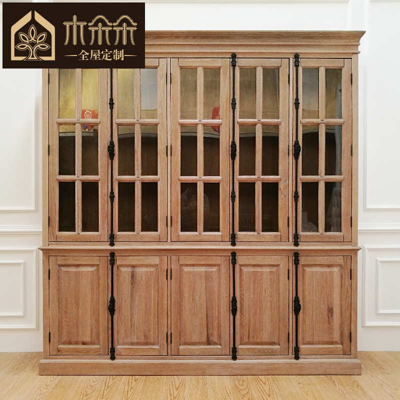 French furniture wood blossoming sideboard pure wood bookcase bookcase door lock rural custom glass door