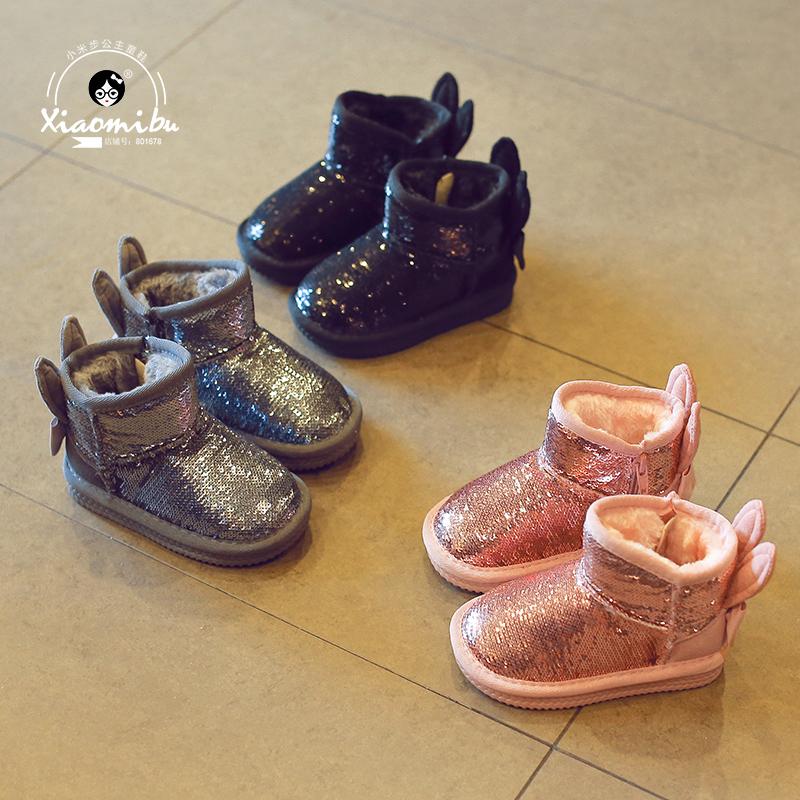 儿童雪地靴2017冬季新款女童加绒靴子亮片中大童短靴宝宝保暖棉鞋