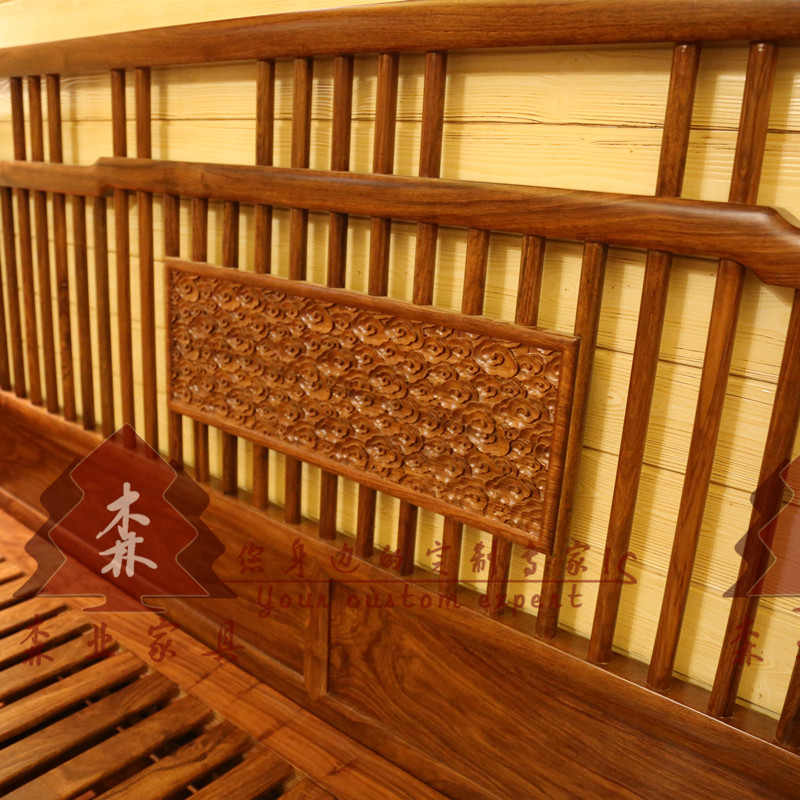 New Chinese double bed, all solid wood six feet bed, hedgehog rosewood furniture, 1.8 meter bed, rosewood bedroom furniture