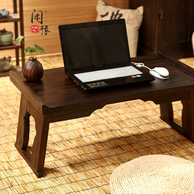 Small tea table table wood windows and tatami bed folding desk computer desk Japanese few Kang Kang Table